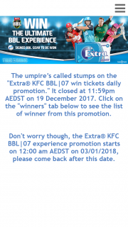 """Woolworths – Win The Major Prize of VIP Tickets for Two (2) Adults to The Kfc Bbl