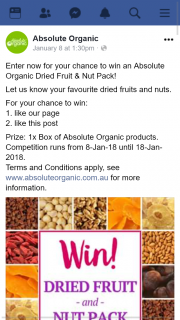 Absolute Organic – Win an Absolute Organic Dried Fruit & Nut Pack