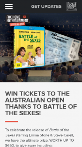 Access All Areas – Win a Copy of Battle of The Sexes (prize valued at $650)
