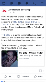 Avid Reader – Win One of Five Car Passes to See The Bbq Special Screening @yatala Drive-In Theatre