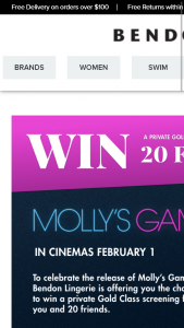 Bendon Lingerie – Win a Private Gold Class Screening for You & 20 Friends to See Molly's Game