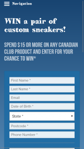 """Bottlemart Sip N Save Lmg Stores Canadian Club Unique Code Spend $15 Or More – Win a Pair of Custom Sneakers"""" Promotion Terms and Conditions (prize valued at $180)"""