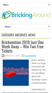 Bricking Around – Win Two Free Tickets (prize valued at $1)
