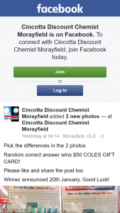 Cincotta Discount Chemist Morayfield – Win a $50 Coles Gift Card (prize valued at $50)