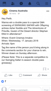Cinema Australia – Win a Double Pass to a Special Q&a Screening of Swinging Safari With Offspring Actress Asher Keddie and The Adventures of Priscilla