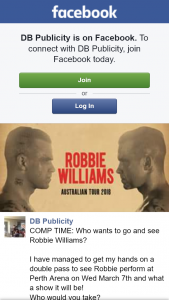 DB Publicity – Win a Double Pass to See Robbie Williams Perth