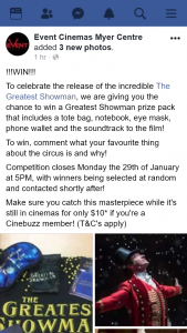 Event Cinemas Myer Centre – Win a Greatest Showman Prize Pack That Includes a Tote Bag