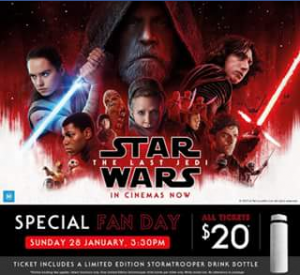 Event cinemas Myer Centre – Win One of Two Double Passes to Star Wars Last Jedi