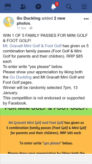 Go Duckling – Win 1 of 5 Family Passes for Mini Golf & Foot Golf
