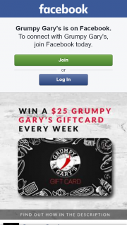 Grumpy Gary's – Win a $25 Grumpy Gary's Gift Card Every Week By Following These Two Super Easy Steps