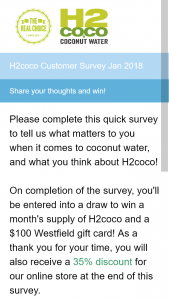 H2Coco – Win a Month's Supply of H2coco and a $100 Westfield Gift Card