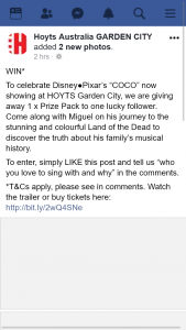 Hoyts Australia GARDEN CITY – Win 1 X Prize Pack of Disney Pixar's Coco (