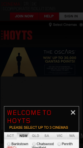 Hoyts – Win 30000 Qantas Points (prize valued at $89.5)