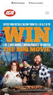 IGA-METCASH – Win 1 of 2000 Double Pass's to See The Bbq Movie (prize valued at $21)