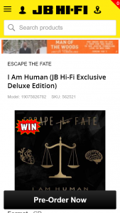JB Hi-Fi Pre-order Escape the Faith's new album & have a chance to – Win a Black Esp Ltd F-10 Electric Guitar Signed By The Band (prize valued at $342)