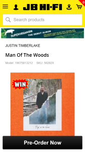 JB Hi-Fi Pre-order Justin Timerlake's Man of the Woods for a chance to – Win a Trip for Two to New York to See Justin Timberlake Live In Concert (prize valued at $20,000)