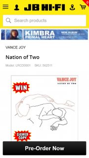 JB HiFi pre-order Vance Joy new album & – Win 1 of 5 Access Passes for You and a Friend to an Intimate Release Day Party With Vance Joy Including Flights & Accommodation