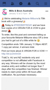 Mills & Boon – Win 1/4 Copies of a Virgin for a Vow