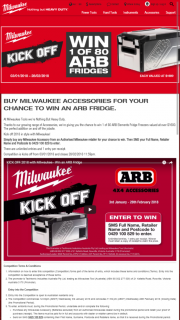 Milwaukee Tools – Win an Arb Fridge (prize valued at $1,600)