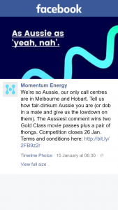 MomentumEnergy – Competition (prize valued at $90)