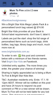 Mum to Five – Win a Bright Star Kids Mega Labels Pack & a Personalised Lunch Bag Valued @ $74.90 (prize valued at $74.9)