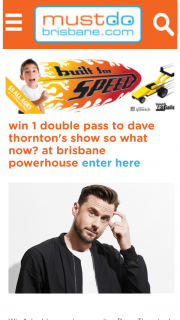 Must Do Brisbane – Win 1 Double Pass to Comedian Dave Thornton's Side-Splitting New Show So What Now