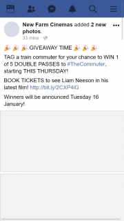 New Farm Cinemas – Win 1 of 5 Double Passes to #thecommuter