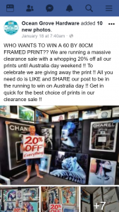Ocean Grove Hardware Victoria – Win a 60 By 80cm Framed Print?