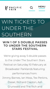 Pacific Fair Shopping Centre – Win Tickets to Under The Southern Stars (prize valued at $1,000)