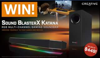 PC Case Gear – Win a Creative Sound Blasterx Katana Rgb Gaming Soundbar