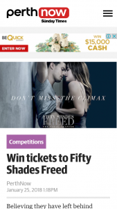 Perth Now – Win Tickets to Fifty Shades Freed closes 12noon