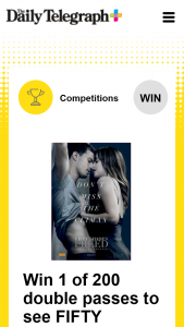 Plusrewards – Win 1 of 200 Double Passes to See Fifty Shades Freed In Cinemas February 8 (prize valued at $8,000)
