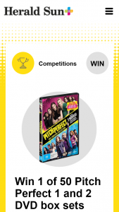 Plusrewards – Win 1 of 50 Pitch Perfect 1 and 2 DVD Box Sets (prize valued at $1,497.5)