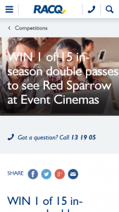 RACQ – Win 1 of 15 In-Season Double Passes to See Red Sparrow at Event Cinemas