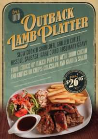 Roadhouse Grill – Win Two OuTBack Lamb Platters'.
