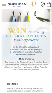 Sheridan – Win an Exciting Australian Open Tennis Experience (prize valued at $1,000)