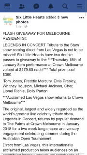Six Little Hearts – Win Tickets to See Legends In Concert Melbourne (prize valued at $179.8)
