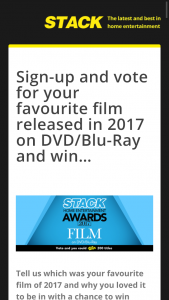Stack magazine Vote for your favourite film of 2017 & – Tickets Only and Does Not Include Any Travel to and From The Event Nor Any Expenses In Relation to The Event Or The Prize