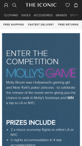 The Iconic – Win a Trip to La Or Nyc (prize valued at $5,000)