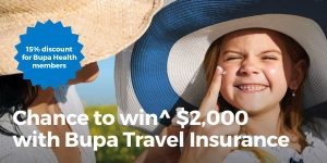 Bupa Travel Insurance – Win 1 of 5 cash prizes valued at $2,000 each