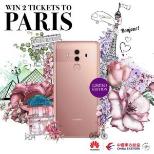 China Eastern Airlines – Win a major prize of a trip for 2 to Paris OR 1 of 2 minor prizes of Huawei Mate 10 mobile phone