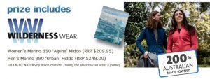 Wildiaries and Wilderness Wear – Win a prize pack of Australian merino clothing valued at $500