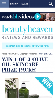 Beauty Heaven – Win 1 of 3 Olive Oil Skincare Prize Packs