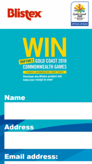 """Blistex – Win Tickets to 2018 Gold Coast Commonwealth Games"""" Promotion"""