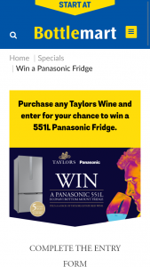 Bottlemart-SipnSave – Win The Prize of a Panasonic 551l Bottom Mount Fridge Valued at $1999 and Six (6) Bottles of Taylors Wine Estate Red Valued at $113.70. (prize valued at $1,999)