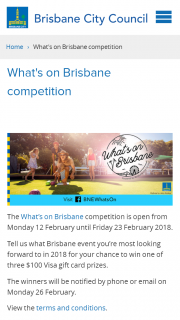 Brisbane City Council – Win One of Three $100 Visa Gift Cards By Simply Answering (prize valued at $300)