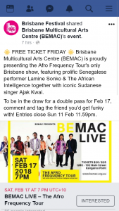 Brisbane festival – Win a Double Pass to See Lamine Sonko