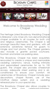 Brisbane's Broadway Chapel – Win a Broadway Chapel Wedding Gift Certificate Valued at $350. (prize valued at $350)