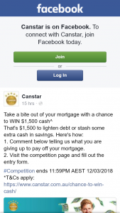 Canstar – Win $1500 Cash^ (prize valued at $1,500)