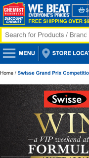 chemist warehouse – Win a VIP Weekend at The Formula 1 Swisse (prize valued at $40,000)